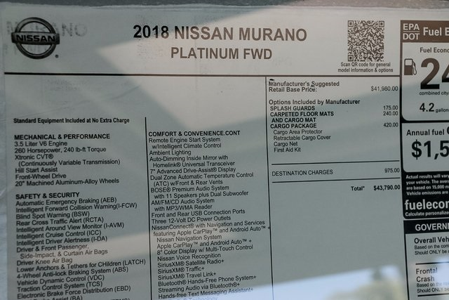 New 2018 Nissan Murano Platinum 4d Sport Utility In